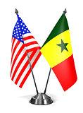 USA and Senegal - Miniature Flags.