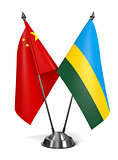 China and Rwanda - Miniature Flags.