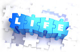 Life - Text on Blue Puzzles.
