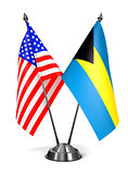 USA and Bahamas - Miniature Flags.