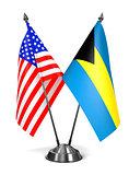 USA and Bahamas - Miniature Flags.