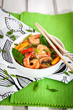 Rice glass noodles with shrimps and vegetables