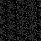 Vector background with gray seamless pattern of flowers