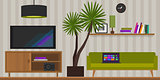 living room home interior vector illustration