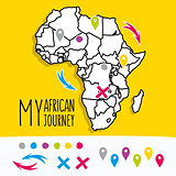 Hand drawn Africa travel map with pins vector illustration