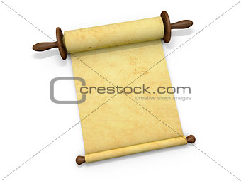 Antique scroll of parchment manuscript