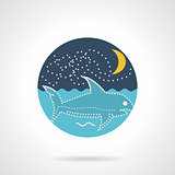 Flat round vector icon for seascape