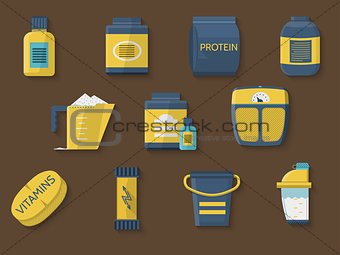 Flat color vector icons for athlete diet