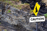 caution rock slide sign on Ballybunion beach