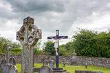 celtic cross headstone and crucifix