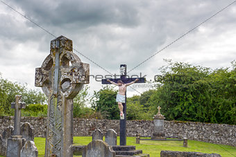 celtic cross headstone and crucifix