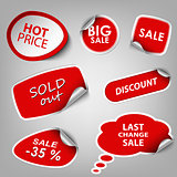 Red collection stickers sale discount template