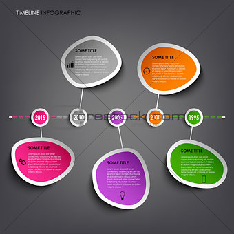 Time line info graphic with colored abstract stickers