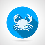Crab flat round vector icon
