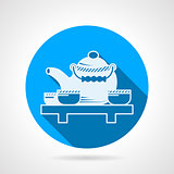 Tea set flat round vector icon