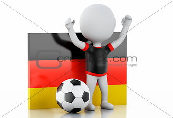 3d white people with Germany flag and soccer ball.