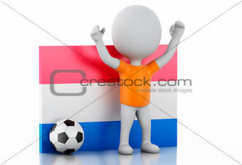 3d white people with Netherlands flag and soccer ball.