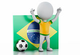 3d white people with Brazil flag and soccer ball.