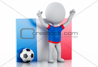 3d white people with France flag and soccer ball.