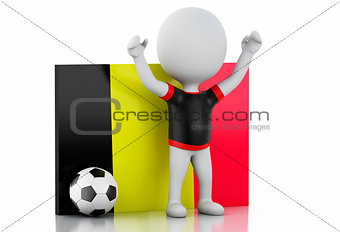 3d white people with Belgium flag and soccer ball.