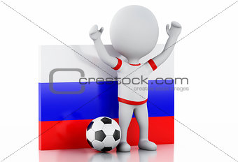 3d white people with Russia flag and soccer ball.