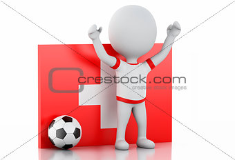 3d white people with Switzerland flag and soccer ball.