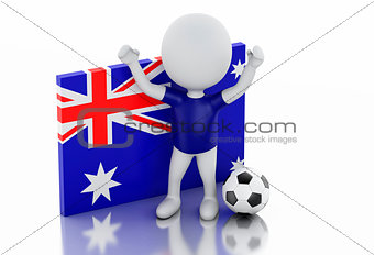 3d white people with Australia flag and soccer ball.