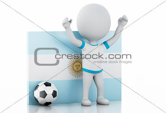 3d white people with Argentina flag and soccer ball.
