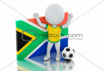 3d white people with South Africa flag and soccer ball.