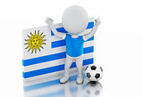 3d white people with Uruguay flag and soccer ball.
