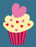 Love cupcake. Vector illustration