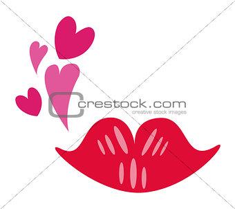 Lipstick kiss. Valentine's day concept. Vector