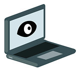 Vector Laptop icon with eye. Security concept.