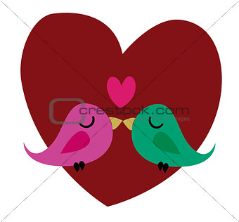 Pair of doves in love. Vector.