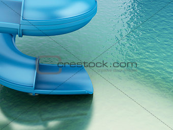 3d slides of the aquapark. Summer concept