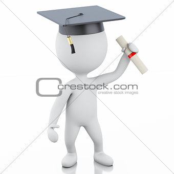 3d white people graduate with diploma and graduation cap