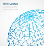 Abstract globe sphere from blue lines on white background