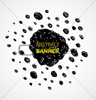 Abstract black scribble dots circle frame banner