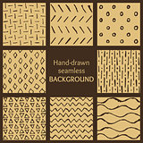 Set of hand-drawn hipster sketch seamless patterns background