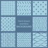Set of blue hand-drawn hipster sketch seamless patterns background
