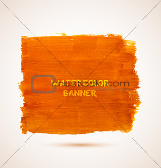 Abstract rectangle orange watercolor hand-drawn banner