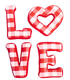Love word of plush red letters on white isolated background. Full plaid textile