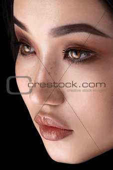 Asian woman with glamour eye make up close-up