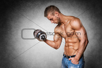 Athlete with dumbbell