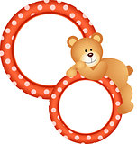 Round frame with teddy bear