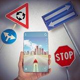 GPS Navigator and road signs
