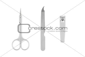 Tools of a manicure set isolated on white background
