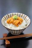 sea urchin roe on rice, japanese food