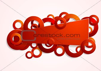 Abstract red banner with circles