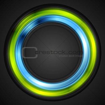 Blue and green glowing circle vector logo
